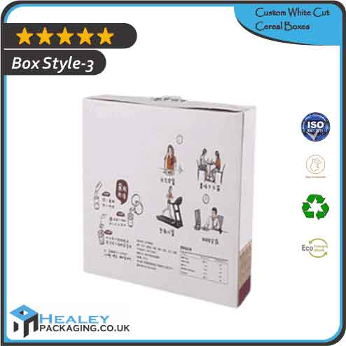 White Cut Cereal Packaging Boxes